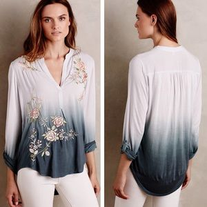 Anthropologie | Ombré Embroidered Floral Blouse